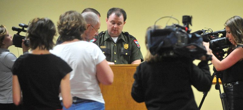 Lt. Kevin Adam, with the Maine Warden Service, speaks with reporters during a press conference about missing Appalachian Trail thru-hiker Geraldine Largay, 66, at the Sugarloaf Mountain Hotel conference center in Carrabassett Valley today.
