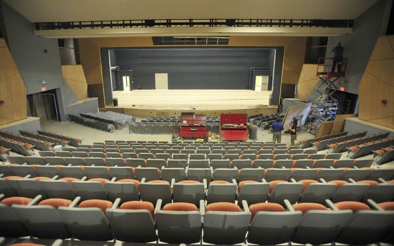 The Bjorn Auditorium at the newly renovated Mt. Blue Learning Campus in Farmington today.