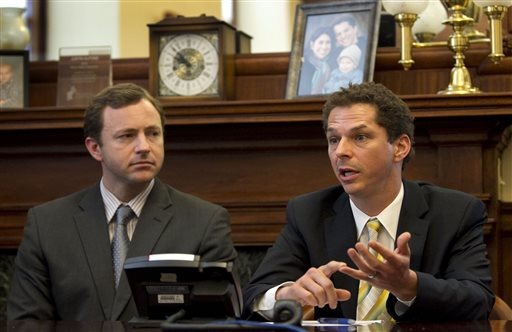 Senate President Justin Alfond, D-Portland, right, and House speaker Mark Eves, D-North Berwick, speak to reporters at the State House in Augusta. Gov. Paul LePage said Wednesday that there may be a breakthrough in the stalemate between his administration and Democratic legislative leaders over a state borrowing plan for road and bridge projects and improvements at higher education campuses.
