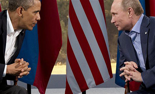 President Barack Obama talks with Russian President Vladimir Putin in Enniskillen, Northern Ireland, in this June 17, 2013, photo. Obama's decision to scrap talks with Putin is likely to deepen the chill in the already frosty relationship between the two leaders.