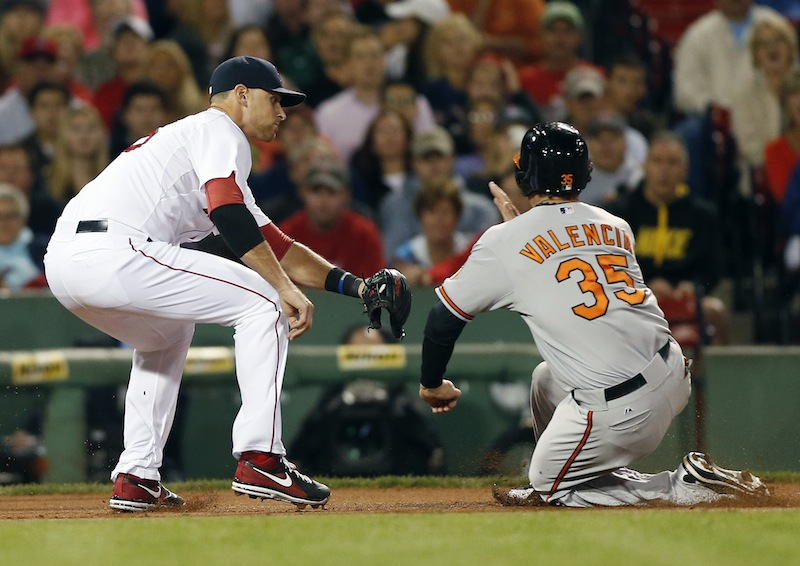 Boston's Will Middlebrooks tags out Baltimore's Danny Valencia in the third inning in Boston on Thursday.