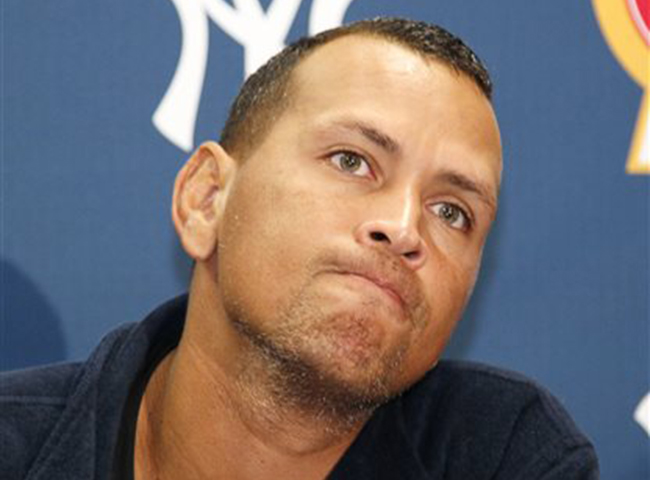 New York Yankees' Alex Rodriguez answers questions from the media at a news conference following a Class AA baseball game with the Trenton Thunder against the Reading Phillies on Friday in Trenton, N.J.