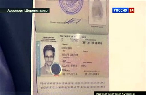 This image taken from Russia24 TV channel shows the document authorizing temporary asylum for Edward Snowden.