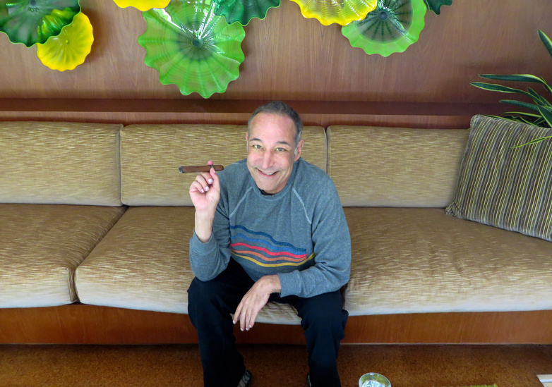 "Sam Simon, co-creator of ""The Simpsons,"" at his home in Pacific Palisades, Calif. Simon, 58, was diagnosed with colorectal cancer last November but continues to push ahead, broaching no defeat."