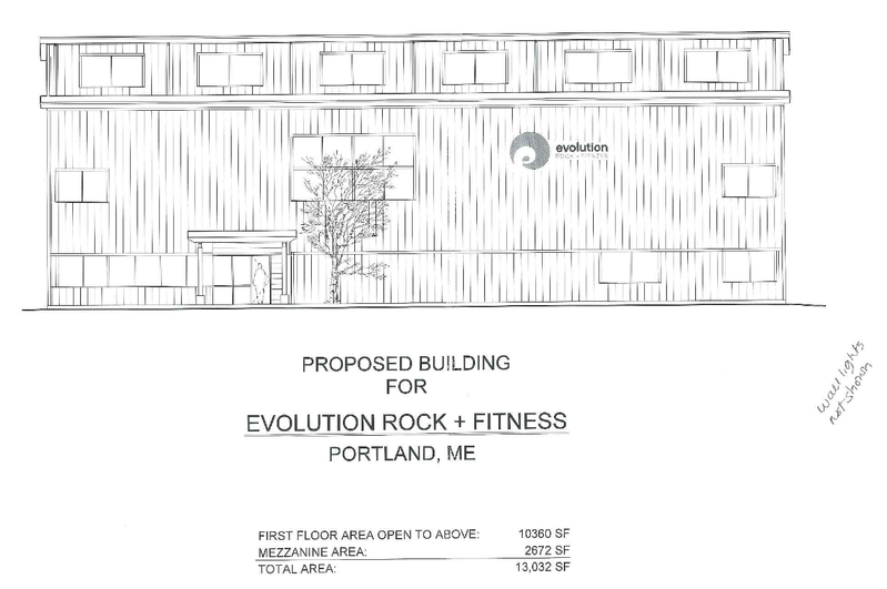 This architect's rendering shows the exterior of the planned rock gym on Warren Avenue in Portland.