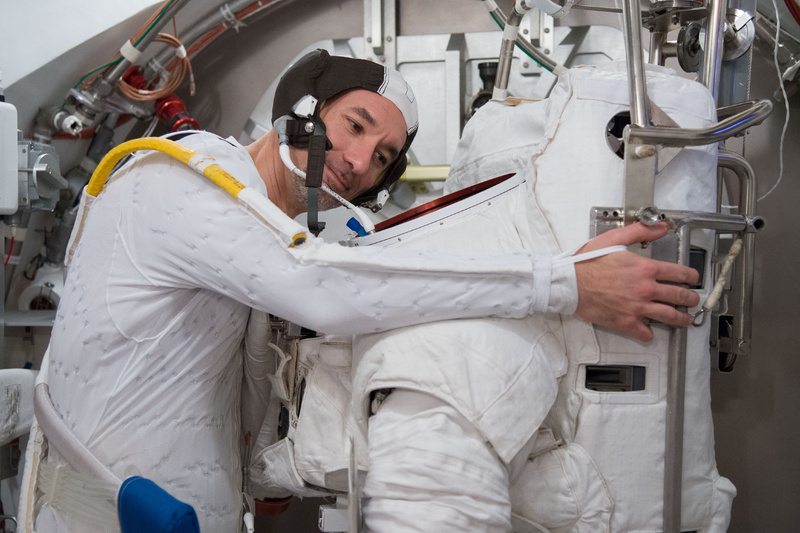 European Space Agency astronaut Luca Parmitano participates in a spacesuit fit check in a laboratory at NASA's Johnson Space Center in Houston in March. The Italian astronaut nearly drowned during a spacewalk in July.