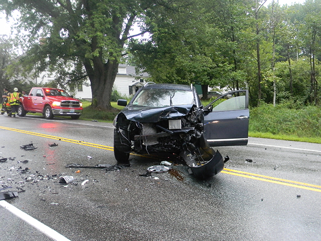 This photo released by the Cumberland County Sheriff's Office shows one of the vehicles involved in the collision on Route 25 in Standish on Friday.