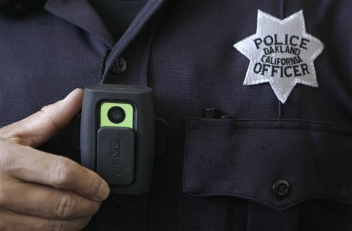 A video camera worn by some officers in Oakland, Calif., is shown in this 2011 photo. A judge who slammed New York City's stop-and-frisk program as discriminatory has suggested a pilot program in which officers wear cameras on their uniforms to record street encounters.