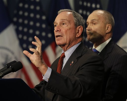 New York City Mayor Michael Bloomberg, left, speaks while Police Commissioner Ray Kelly looks on during a news conference in New York on Monday.