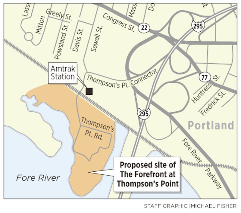 A locator map for The Forefront, a $105 million project planned for Thompson's Point in Portland.