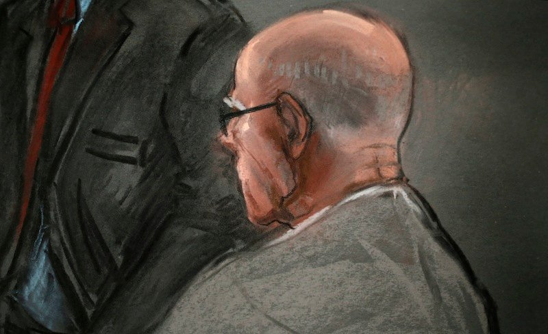 """In this courtroom sketch, James """"Whitey"""" Bulger listens to defense attorney, Hank Brennan, during closing arguments at U.S. District Court, in Boston, Monday, Aug. 5, 2013. Bulger, 83, is accused of playing a role in 19 killings during the 1970s and '80s as leader of the Winter Hill Gang, Boston's murderous Irish mob. (AP Photo/Jane Flavell Collins)"""