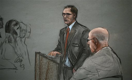 """In this courtroom sketch, James """"Whitey"""" Bulger, right, listens to his attorney, Hank Brennan, during closing arguments at U.S. District Court, in Boston on Monday."""