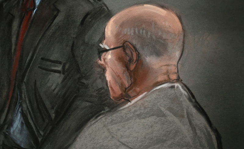 In this courtroom sketch, James