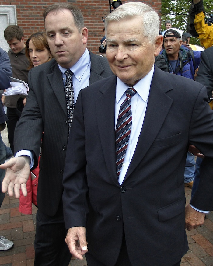 In this June 24, 2011 file photo, former Massachusetts Senate President William Bulger is escorted from the federal courthouse after the first appearance for his brother James