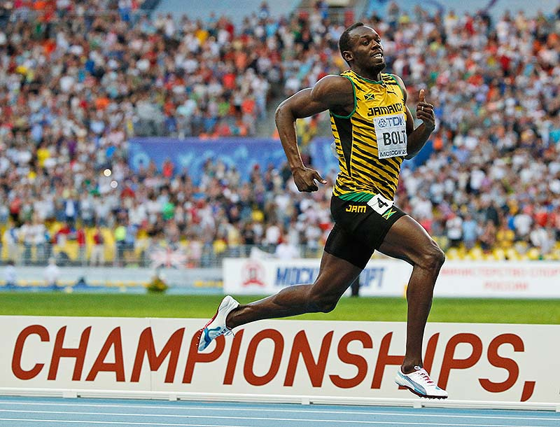 Jamaica's Usain Bolt wins the men's 200-meter final at the world championships in the Luzhniki stadium in Moscow on Saturday.