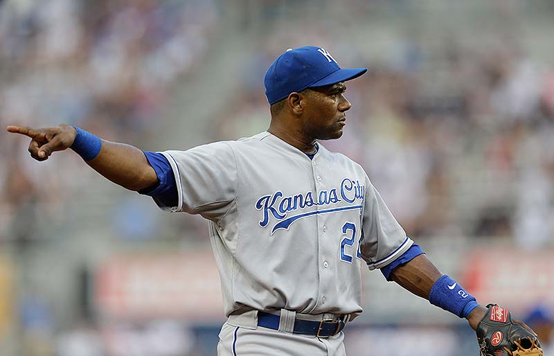 Kansas City Royals shortstop Miguel Tejada was suspended for 105 games for testing positive for amphetamines, the MLB announced in a statement on Saturday.