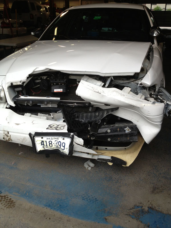This Saco police cruiser is likely a total loss after being rammed during a recent chase, but the chase ended with no shots being fired and nobody seriously injured. The rule of law puts in place trained professionals to ensure public safety, so citizens don't need to arm themselves, a reader says.