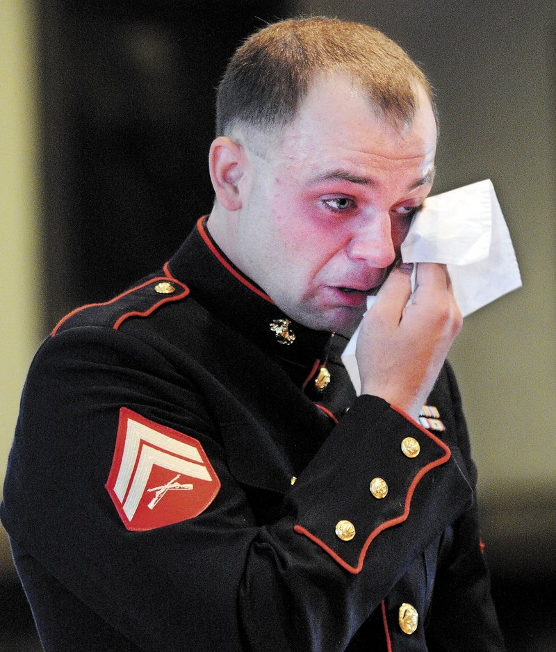 Clad in the dress uniform of the Marine Corps, Travis Lawler was sentenced to four years Monday, July 29, 2013 at Kennebec County Superior Court for a drunken-driving incident that killed his sister and her boyfriend and seriously injured a passenger.