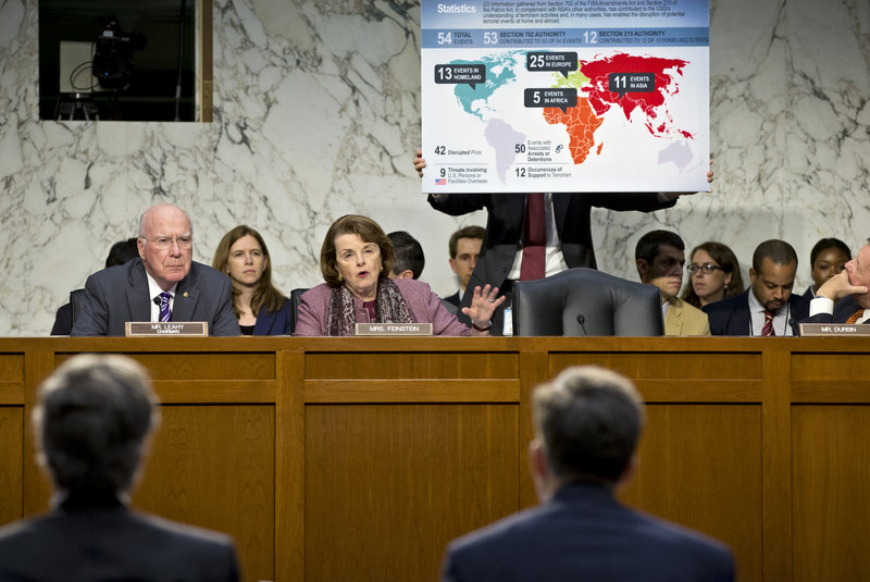 With a chart listing thwarted acts of terrorism behind them, Sen. Patrick Leahy, D-Vt., left, and Sen. Dianne Feinstein, D-Calif., question top White House officials Wednesday.