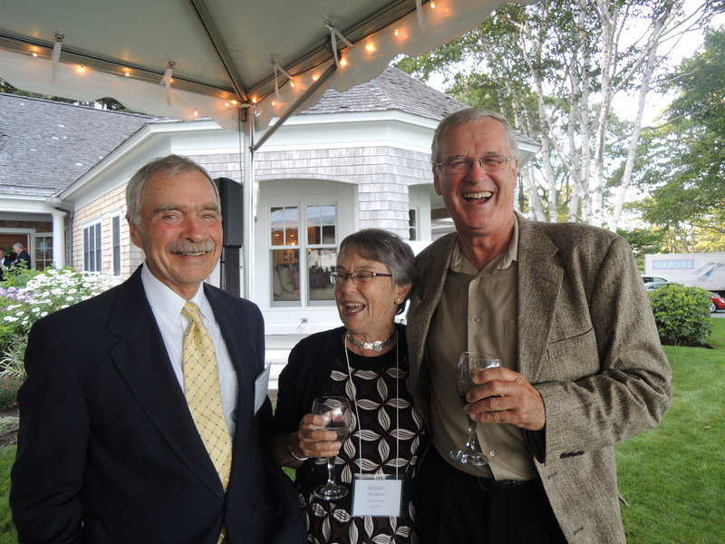 Spring Harbor board member Lester Hodgdon and his wife Sidney Hodgdon, of Brunswick, and Tom Chadbourne, of Portland.