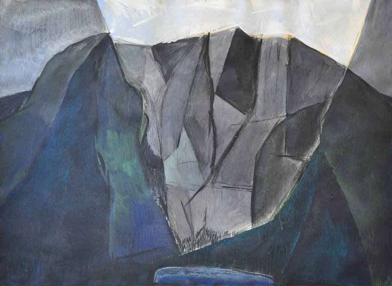 "William Kienbusch, one of the artists in the exhibition at the University of New England Art Gallery in Portland, used a series of triangles and geometric shapes to capture the mountain in his ""Mount Katahdin"" from 1949."