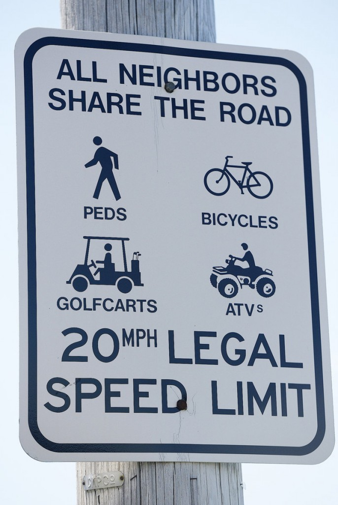 A Long Island sign encouraging people to share the road with the multiple vehicles, including golf carts. Photographed on Thursday, August 1, 2013.