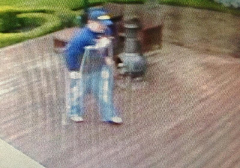 Surveillance video made public this weekend shows an attempted-burglary suspect hobbling on crutches toward the house of musician Kid Rock in Clarkston, Mich.