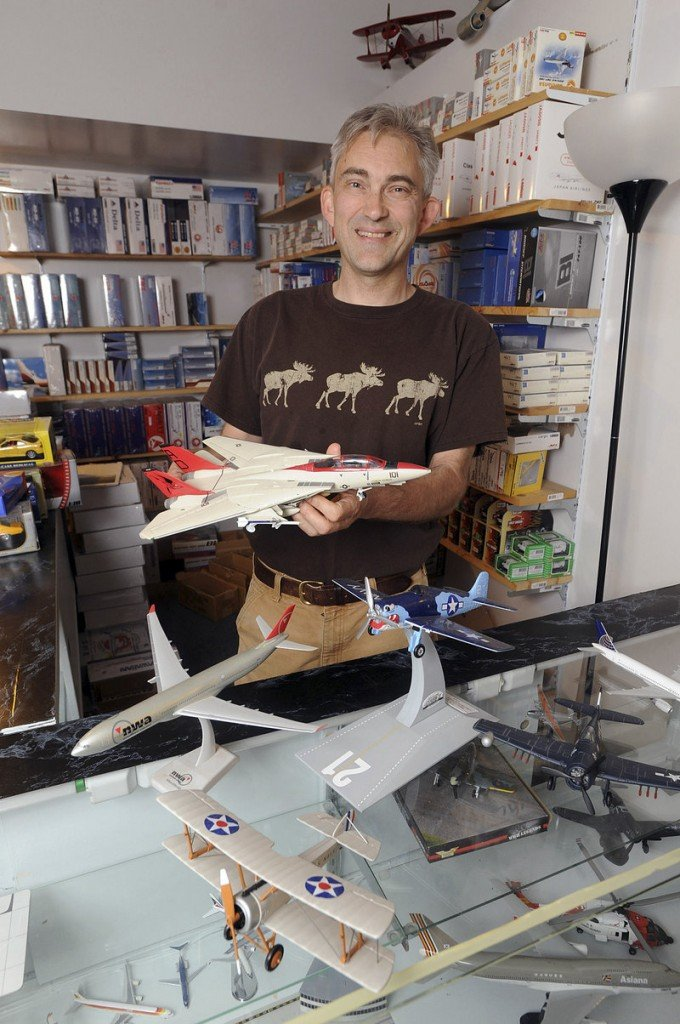 Steve Howland sells model airplanes galore from his inconspicuous storefront in Shelburne Falls, Mass.