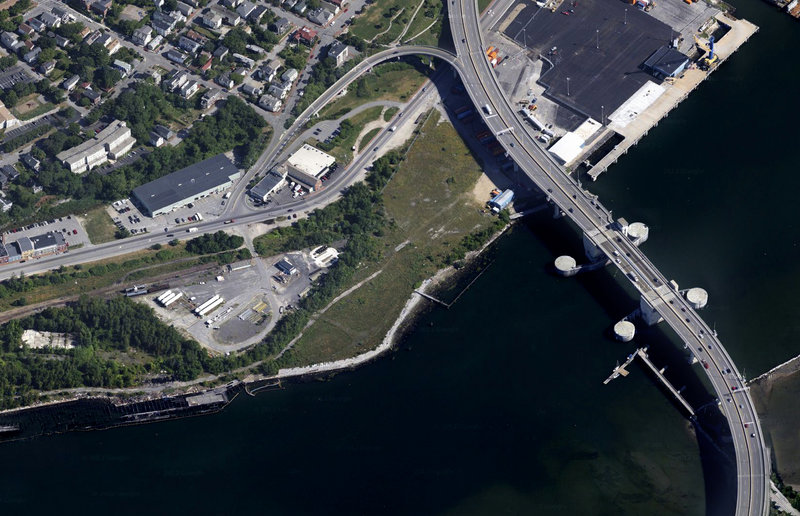 After selling the Portland Company complex on the eastern waterfront, Phineas Sprague Jr. is planning to build a boatyard on the western side off Commercial Street, shown above at left.