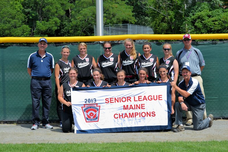 Members of the Maine District 6 Senior Little League Softball All-Stars, who went 2-2 at the Eastern Regional in Worcester, Mass., pictured from left to right: Front row – Allison Morse, Heather Chapman, Ally Tillotson, Sam Libby, Ashley Clark and Manager Bill Chapman; Back row – Coach Don Libby, Maddie Elliott, Allie Pike, Elizabeth Walker, Julia Treadwell, Breanna Lifland, Taylor Whaley and Coach Matt Whaley. Missing from photo – Rebecca Howell, Kylie Martin and Kolby Woods.