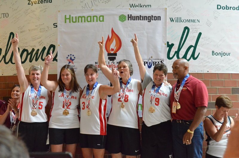 The Quick Silver women's basketball team won a gold medal in the 55-59 age group at the National Senior Games. Pictured from left to right: Janice Pendleton (Brunswick), Anne Dunne (Scarborough), Laurie Bjorn (Kennebunk), Linda Pickard (Lyman), Tammie Higgins (Portland) and Coach Mario Barros (Kennebunk).