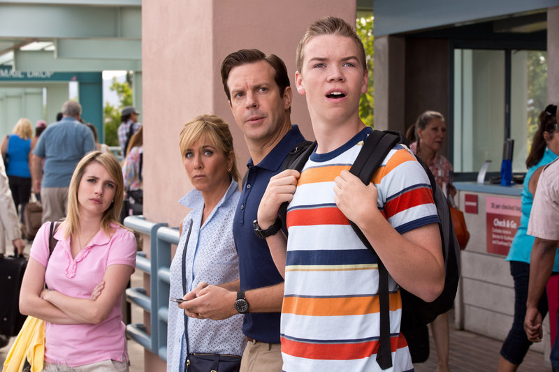 "Emma Roberts, Jennifer Aniston, Jason Sudeikis and Will Poulter star in ""We're the Millers."""