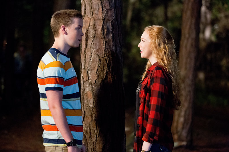 Poulter, above with Molly C. Quinn, steals the show with his portrayal of the awkward teen Kenny.