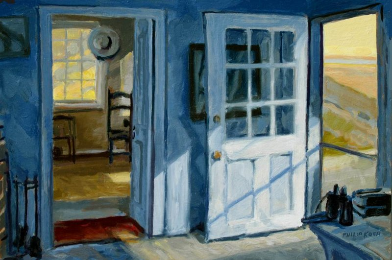 """""""Rooms by the Sea,"""" oil on panel, a peek into Hopper's Cape Cod studio by Philip Koch."""