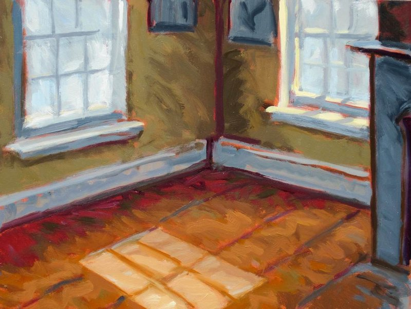 """""""Sun in an Empty Room: Orange,"""" oil on panel by Philip Koch, depicting Hopper's second-floor bedroom in his Nyack, N.Y., boyhood home, where he lived until he was nearly 30."""