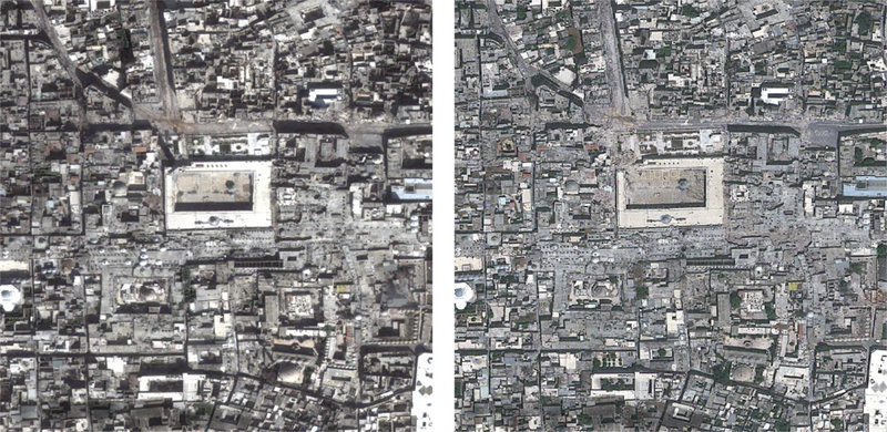 Satellite images show Aleppo, Syria, on March 1, left, and May 26, right. The city's Great Mosque is at the center.