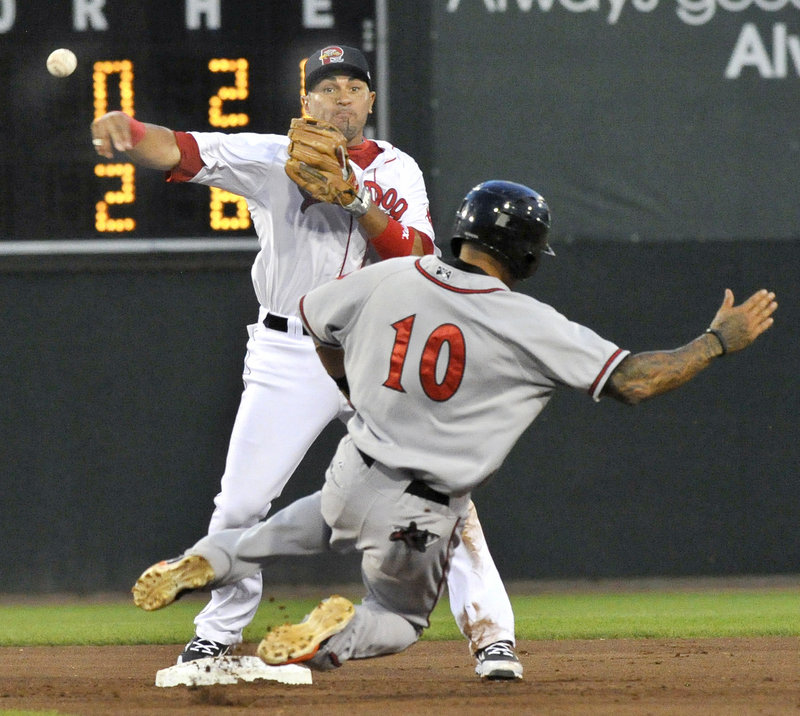 Ryan Dent throws to first to complete a double play Wednesday night after forcing Javier Herrera of the Richmond Flying Squirrels at second base. Portland fell 5-3 at Hadlock Field and is three games out of a playoff spot.