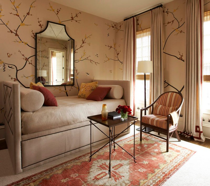 A 1920s Turkish rug sets the tone in this room designed by Robert Brown.