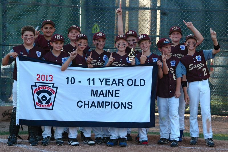 Saco Little League's 10-11 all-stars won the state championship for the second straight year, beating Dirigo 13-1 in the final in Saco on July 30. Team members, from left to right, Cal Christoforo, Will Mitchell, Jackson Cochrane, Luke Ham, Ryan Penney, Ethan Tsomides, Ben Ham, Austin Morin, Grant Dow, Hayden Lehigh, Patrick Sawyer and Kobe Gaudette.