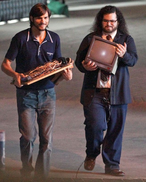 "Kutcher with Josh Gad as Steve Wozniak in ""Jobs."""