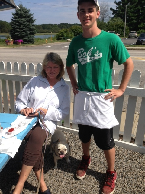 Martha Stewart, one of Maine's best known residents, visited Bob's Clam Hut in Kittery Thursday with one of her prized pups. The employee serving her is Chris Cambridge.