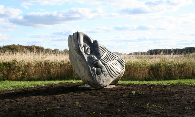 From the Sculpture Trail of Maine, works by Don Meserve, Lise Becu in Addison.