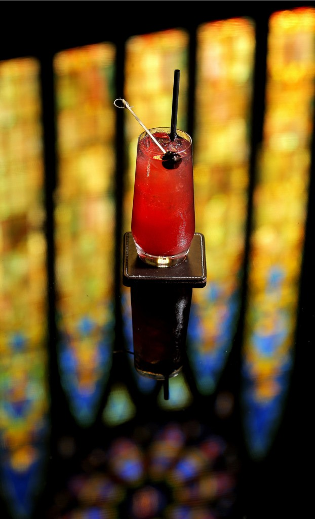 A Bing cherry shrub cocktail created by Luke O'Neill, a bartender at Grace in Portland.