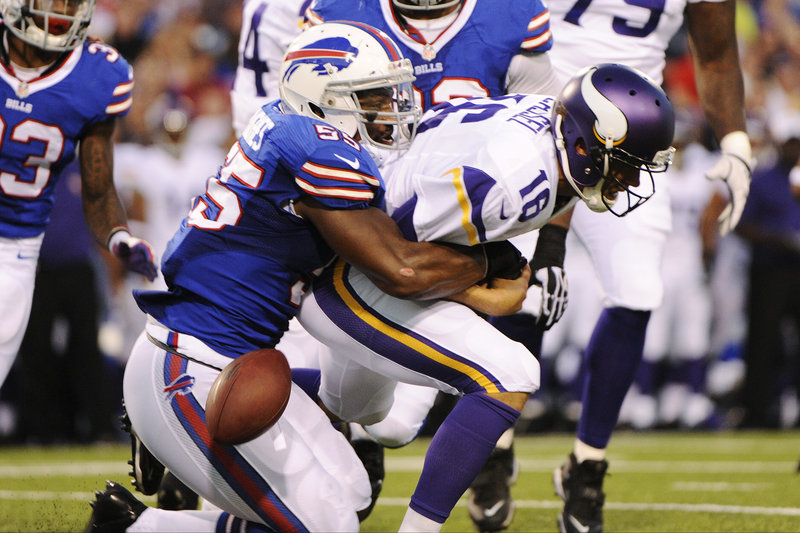 Jerry Hughes of Buffalo sacks Minnesota Vikings quarterback Matt Cassel during the first half of the Bills' 20-16 preseason win Friday at Orchard Park, N.Y.