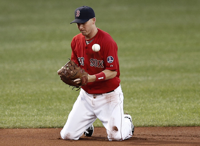 It was that kind of an ugly night, as Boston shortstop Stephen Drew bobbles a grounder – one of three Red Sox errors during a lackluster 10-3 loss to the Yankees.