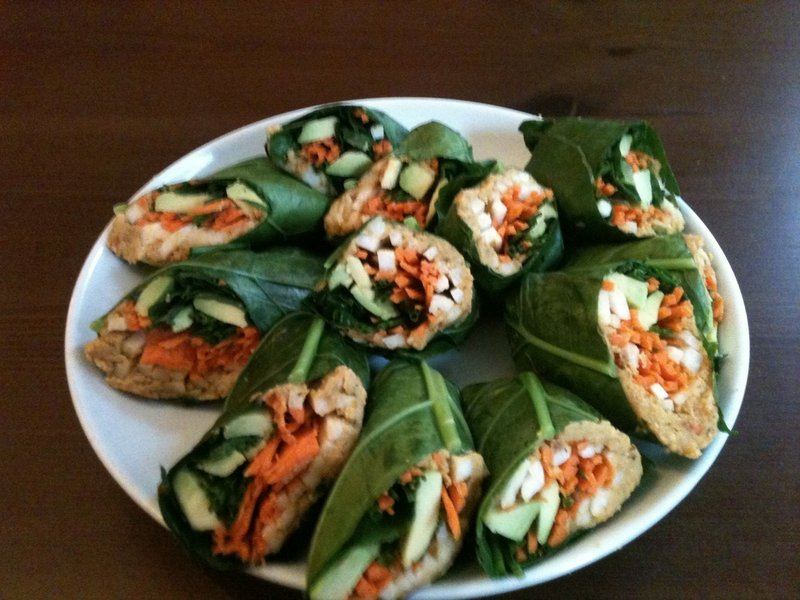 KIRSTEN SCARCELLI'S COLLARD WRAPS WITH SPICY SWEET POTATO HUMMUS