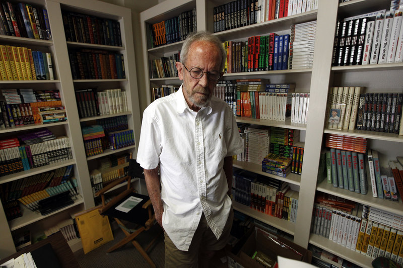 Author Elmore Leonard is seen in his Bloomfield Township, Mich., home last year. Leonard, who helped establish the genre of crime writing, died Tuesday at age 87.