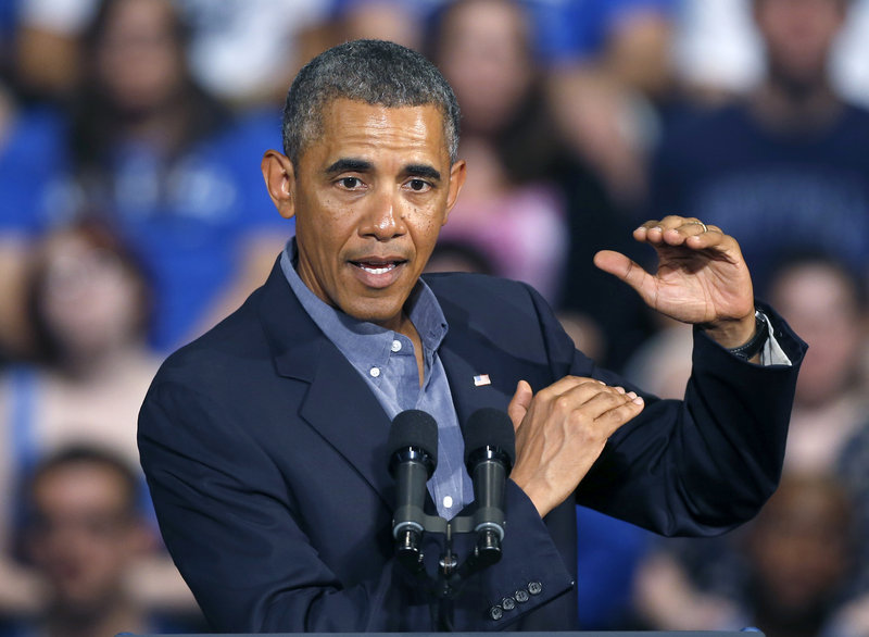 "President Obama explains his college-aid plan Thursday at the University of Buffalo. He said it would devote taxpayer money to schools providing the ""bigger bang for the buck."""