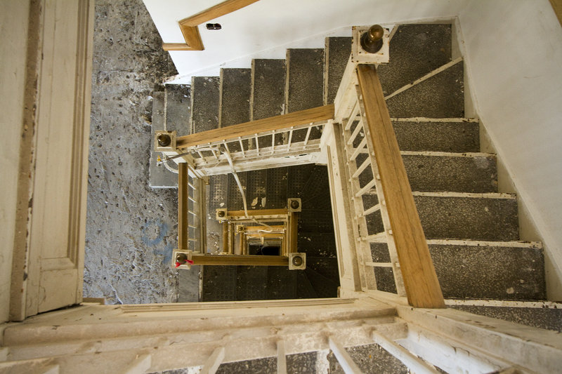 The current owner had already gutted a great deal of the building's interior space, as seen in the central stairwell ...