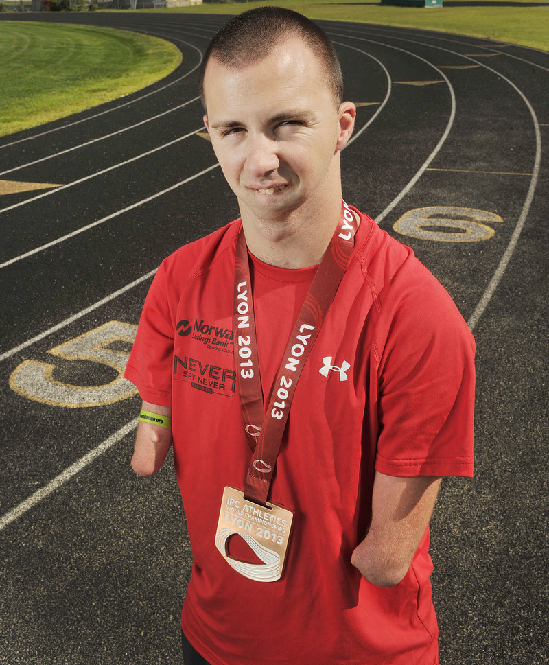 Maine para-athlete Josh Kennison, 23, recently medaled in the International Paralympic Committee Athletics World Championships in Lyon, France.